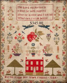 and I particularly like red houses on samplers!