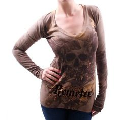 REMETEE By Affliction Eye of the Storm Thermal V-Neck Womens Shirt (Apparel)