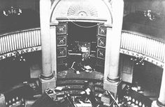 The holy ark in the sanctuary of the Seitenstetten Street synagogue, demolished during Kristallnacht. Vienna, ...