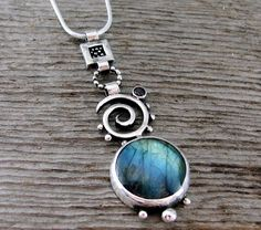 Elements Labradorite & Garnet Necklace by Delias Thompson  (500×441)