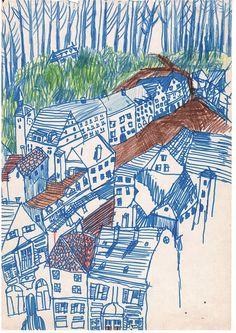 Emily Van Overstraeten + illustration + ilustração + blue + houses + woods + casas azuis na floresta