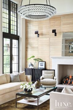 Modern meets rustic here !  This room works so well with the finished clean look of the wood accent wall.