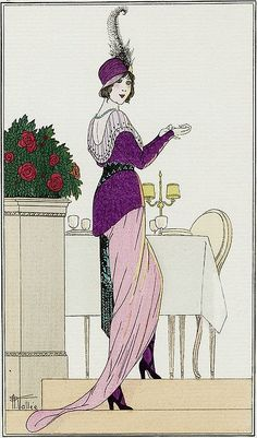 Armand Vallee Fashion Illustration with Purple Dress