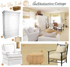 Get The Look: Cottage Style Living Room #cottagelivingroom #neutrals #whitecottagestyle #slipcoveredchairs #cottagefurniture http://thedistinctivecottage.com