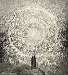 Rosa celeste : Dante et Béatrice contemplant l'Empyrée, illustration de Gustave Doré pour le Paradis