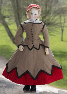 """17 1/2"""" (46 cm) French Fashion Blampoix doll with wooden body in her original dress! Antique dolls at Respectfulbear.com"""