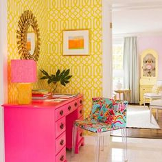 I have an old desk like this that I use for my makeup table.  I think it needs this pink paint!