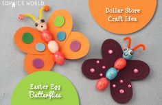 Dollar Store Craft - Easter Egg Butterflies | Sophie's World