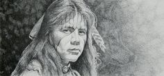 Wolf Clan Boy by Joe Belt  This is a print from an original pencil drawing. Note the profile of a wolf to the right of the males face.