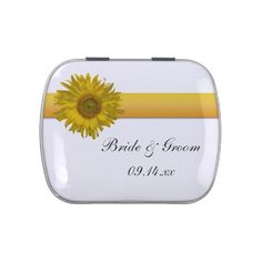 The pretty Sunflower Stripe Wedding Favor Candy Tin is filled with delicious Jelly Belly Candies! Feel free to choose your favorite flavor of jelly beans or mints! Customize it with the personal names of the bride and groom and specific marriage ceremony, engagement party or bridal shower date. This classy custom botanical wedding #favor features a sunflower blossom with a white background. Perfect for the couple who has planned an elegant #sunflower #wedding theme. #weddingfavors