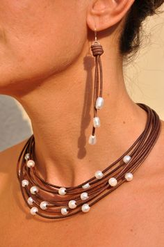Freshwater Pearl and Leather Necklace - Multi Strand Brown with White Pearls - Pearl and Leather Jewelry Collection