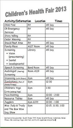 Children's Health Fair schedule