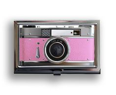 Business Card Case Pretty in Pink Retro Camera Metal Case Fits Business, Credit, Debit and Gift Cards. $18.00, via Etsy.