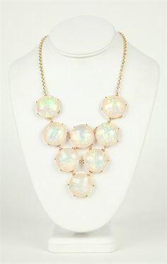 Deb Shops Short Statement #Necklace with Opalescent Stones $10.90