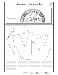 4th grade math worksheets slide show - Worksheets and Activities - Measuring angles with a protractor | GreatSchools