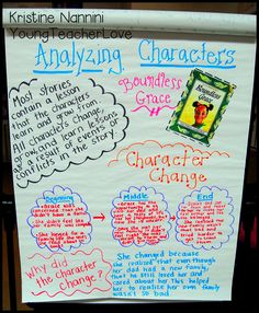 Young Teacher Love: Character Study Character Change Anchor Chart.