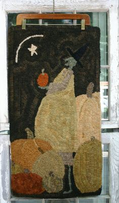 hooked rug pattern design on linen Wytch One by thesimplequiet, $55.00