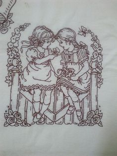 lots of tiny back stitches with a single thread...cute!Nena and friend...