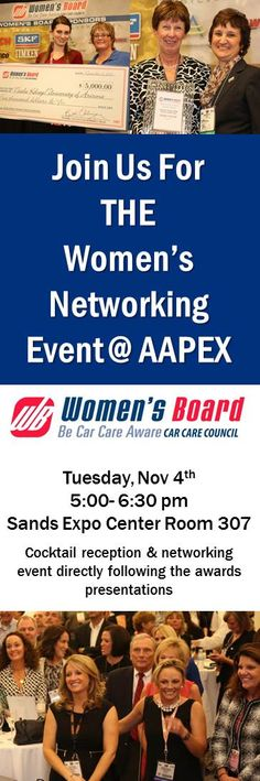 Going to @AAPEX EX 2014? Join the Women's Board for Women of the Year and scholarship presentations and stay for THE networking event for women at AAPEX
