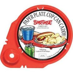 Reusable paper plate and cup caddy #tailgating #gameday