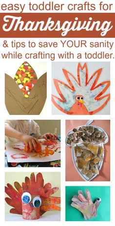 10 cute Thanksgiving crafts and 10 GREAT tips for doing crafts with toddlers.