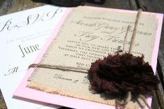 Burlap printed wedding invitations