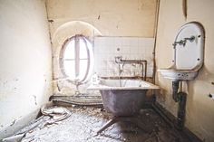 residential bathroom circle window Haunting photos of abandoned castles