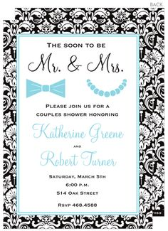 Damask Mr. and Mrs. Invitations