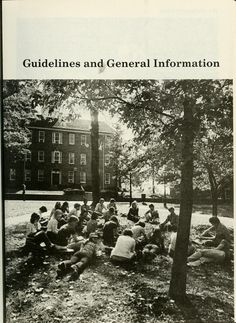 Ohio University bulletin. Undergraduate catalog, 1985-1986. People sit in a circle on College Green in front of Cutler Hall. :: Ohio University Archives