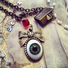 Evil Eye Sweet Victorian bow necklace by gigideluxe on Etsy, $65.00