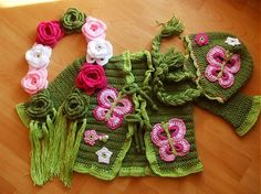 crochet - jacket, hat and scarf for a little girl - Too cute