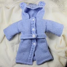 Loom Knit Baby Bathrobe PATTERN. Spa Quality and Teddy Bear Themed! Pattern is in 3 sizes:  12 mos+, 6 mos+ and Newborn+.  PATTERN ONLY! pattern