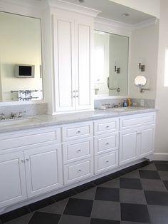 Master Bathroom Cabinets...I would make them dark wood, but just the idea is amazing!!
