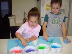 Edible Finger Paint using sweetened condensed milk and food coloring!
