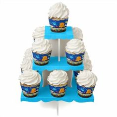 Under The Sea Critters - Baby Shower Cupcake Stand & 13 Cupcake Wrappers. Go to: http://www.modern-baby-shower-ideas.com/fun-baby-shower-ideas.html use coupon code: modern11 and save 11%