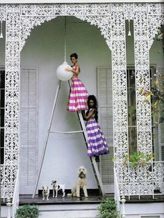 """""""Born in the USA"""": Naomi Campbell and Christy Turlington in New Orleans by Arthur Elgort for Vogue US"""