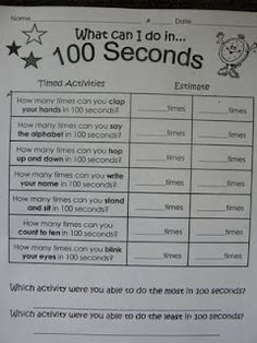 What can I do in 100 seconds? For 100th day of school