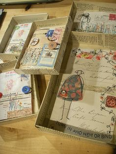 Save the little jewelery boxes for this! Make little handmade books...or a letter...to fit inside box; decorate box, too; mail