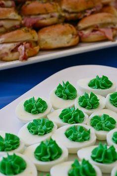 """Green deviled eggs - """"gator eggs"""""""