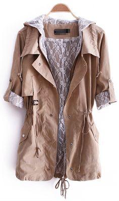 Khaki Hooded Zipper Pockets Trench Coat