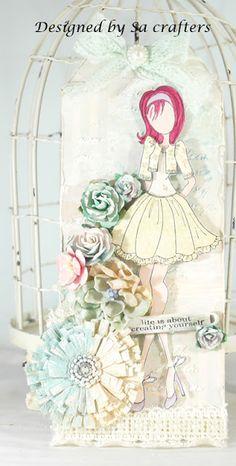 juli nut, stamp tag, prima stamp, prima dolls, art, card, nut doll, scrapbook, prima doll stamps
