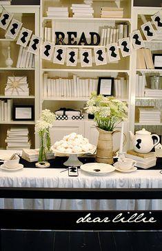 silhouett, austen parti, birthday parties, black white, jane austen, book clubs, ideas party, tea, embroidery hoops