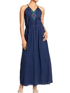 Women's Embroidered Crinkle-Gauze Maxi Dresses | Old Navy
