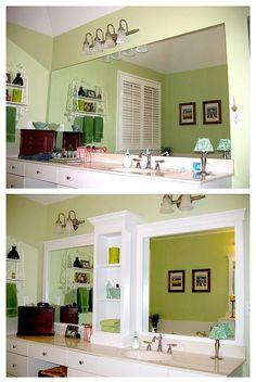 cabinets, bathroom mirrors, bathroom makeovers, hall bathroom, bathroom mirror makeover, shelving units, bathroom idea, master bathrooms, bathroom makeover sinks