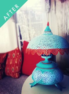Moroccan pierced metal lamp, painted all crazy.