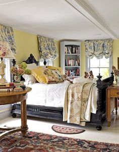 What a cutie! design bedroom, bedroom decor, color, one bedroom apartment decor, master bedrooms, cream or yellow bedrooms, country bedrooms, bedroom designs, curtain
