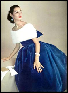 ~Jacky Mazel in blue velvet dress with off-shoulder neckline wrapped in luxurious white mink, by Jacques Fath, photo by Guy Arsac, 1956~