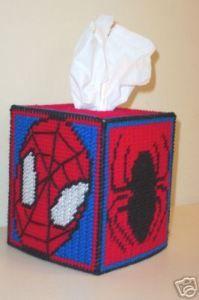 Plastic Canvas box spiderman, tissue boxes, tissue box covers, tissu box, plastic canva