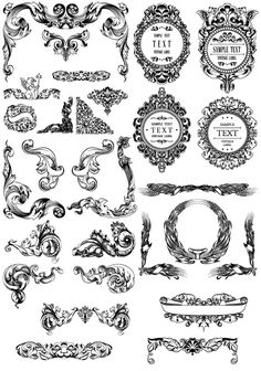 Free Baroque decorative elements vector (printout for labels, etc)