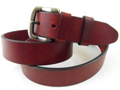 35mm Genuine leather burgundy latigo belt American made casual dress men women. $39,95, via Etsy.